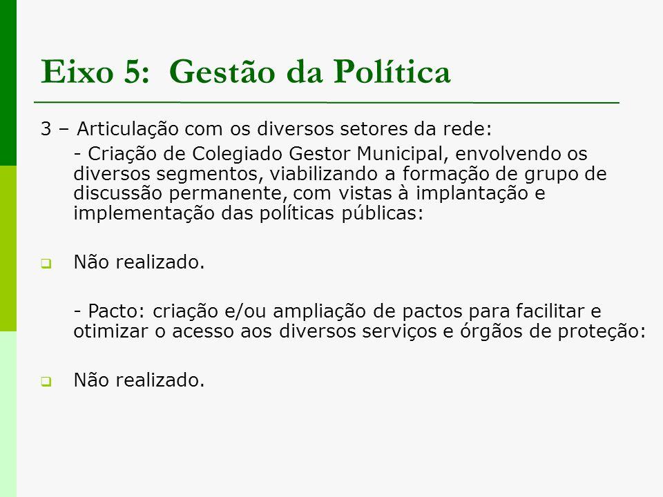 Eixo 5: Gestão da Política