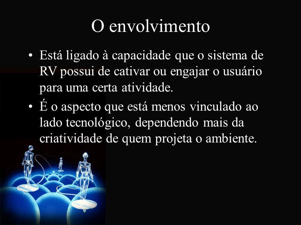 O envolvimento Está ligado à capacidade que o sistema de RV possui de cativar ou engajar o usuário para uma certa atividade.