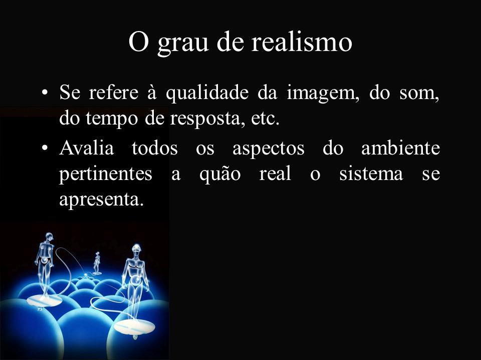 O grau de realismo Se refere à qualidade da imagem, do som, do tempo de resposta, etc.