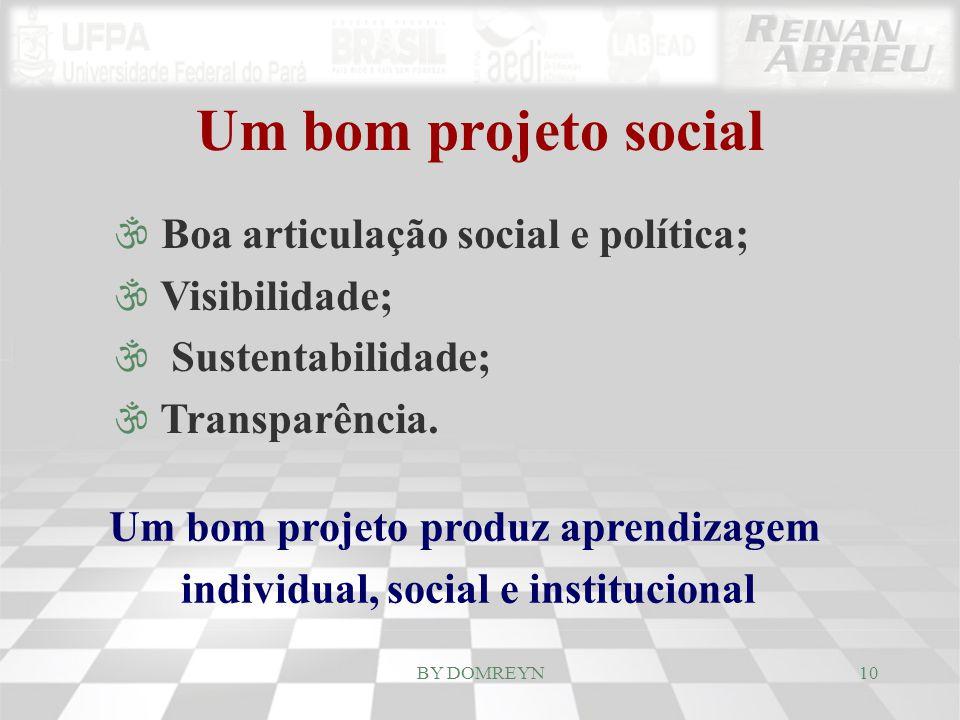 Um bom projeto produz aprendizagem individual, social e institucional