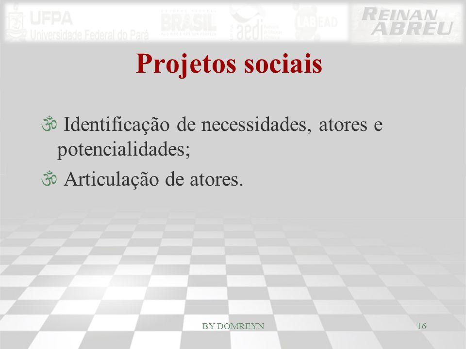Projetos sociais Identificação de necessidades, atores e potencialidades; Articulação de atores.