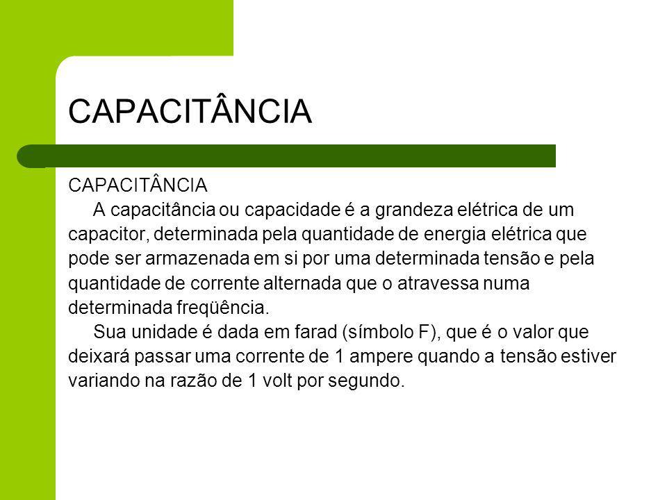 CAPACITÂNCIA CAPACITÂNCIA