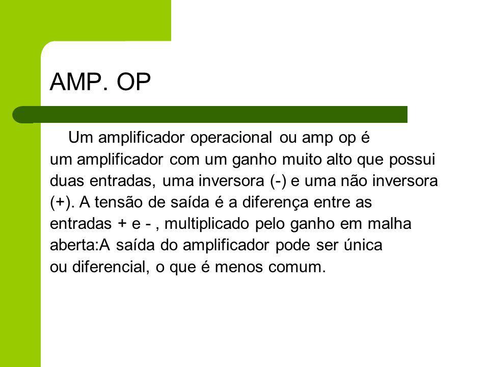 AMP. OP um amplificador com um ganho muito alto que possui
