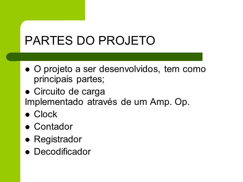 PARTES DO PROJETO O projeto a ser desenvolvidos, tem como principais partes; Circuito de carga. Implementado através de um Amp. Op.