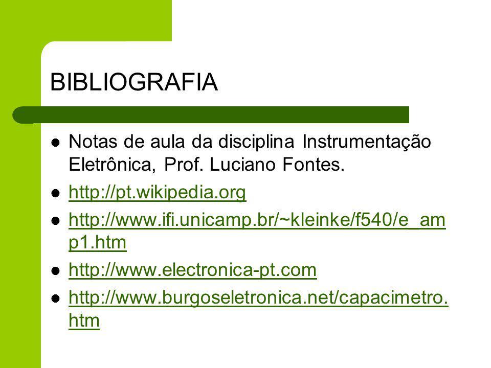 BIBLIOGRAFIA Notas de aula da disciplina Instrumentação Eletrônica, Prof. Luciano Fontes. http://pt.wikipedia.org.