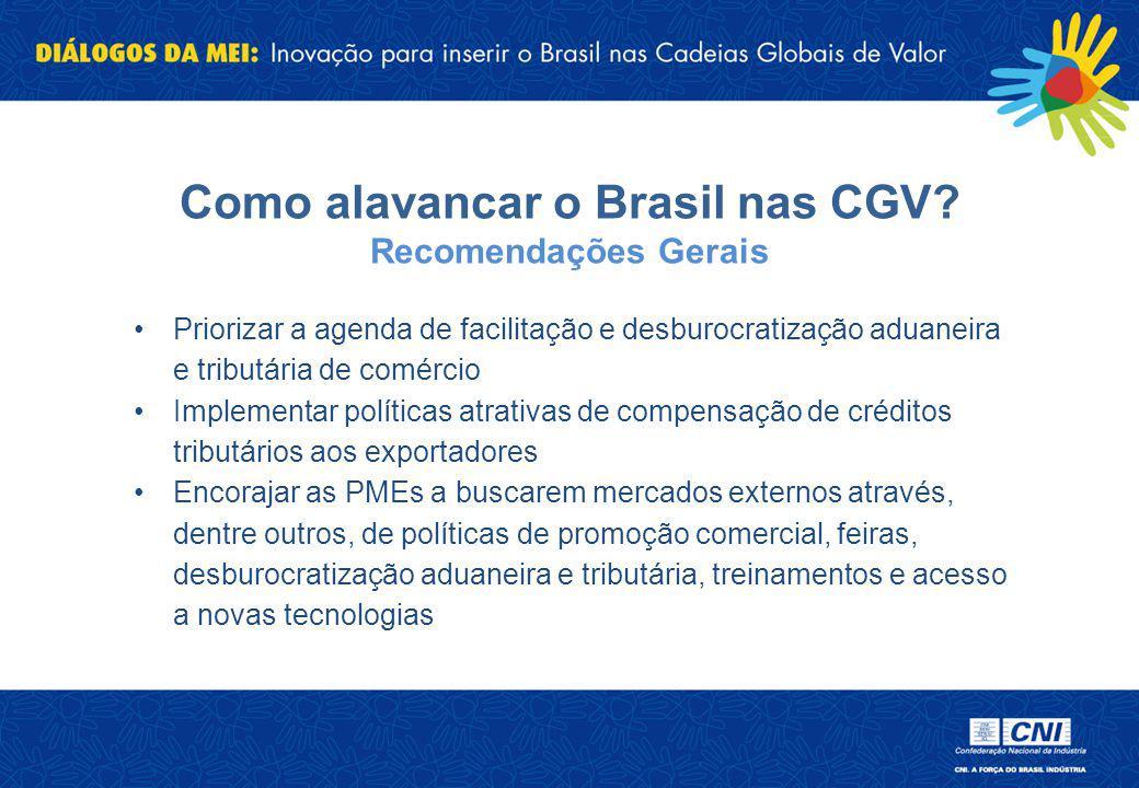 Como alavancar o Brasil nas CGV Recomendações Gerais
