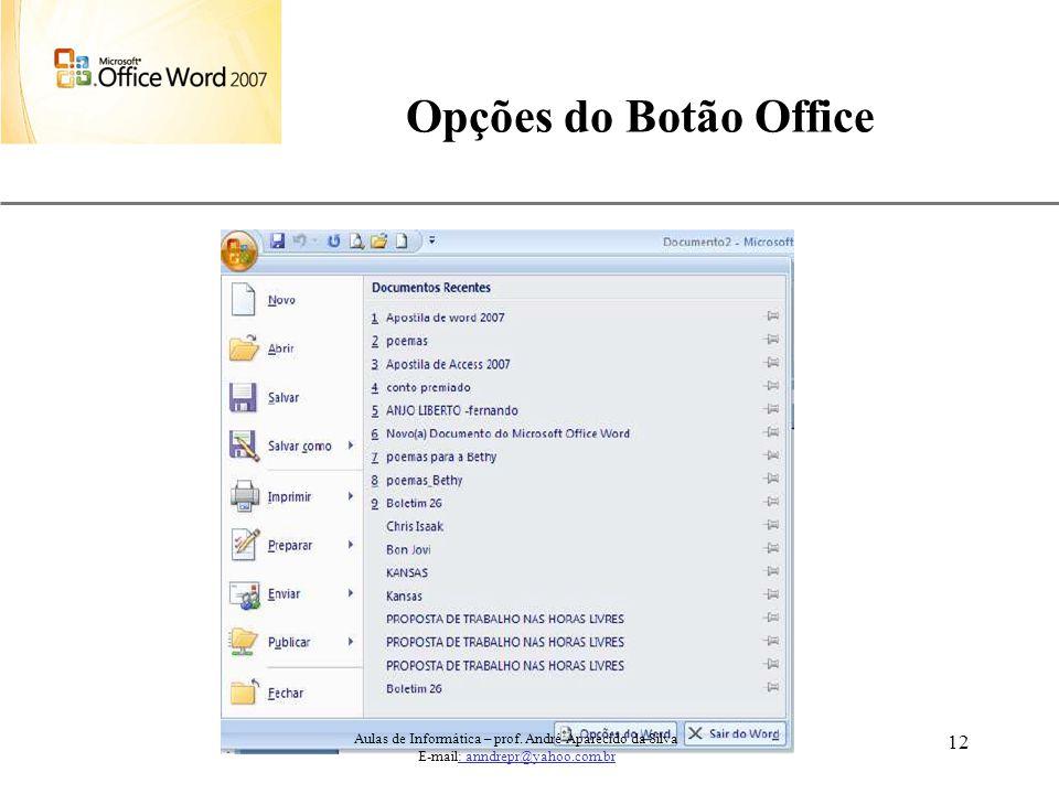 Opções do Botão Office Aulas de Informática – prof.