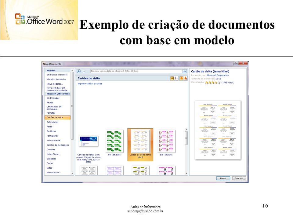 Exemplo de criação de documentos com base em modelo