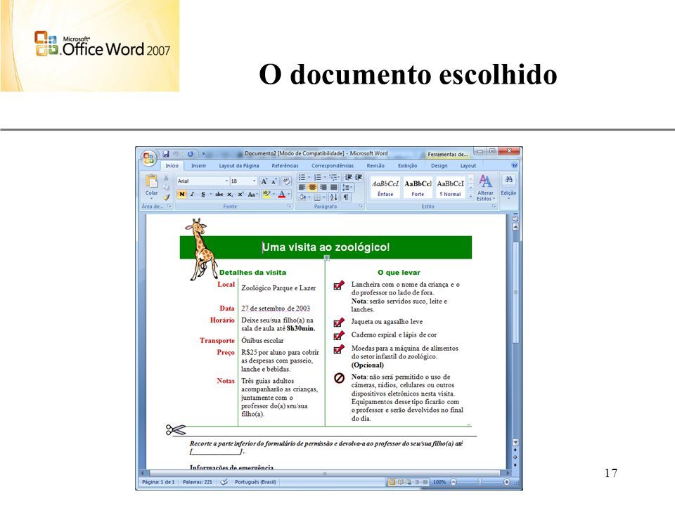 O documento escolhido