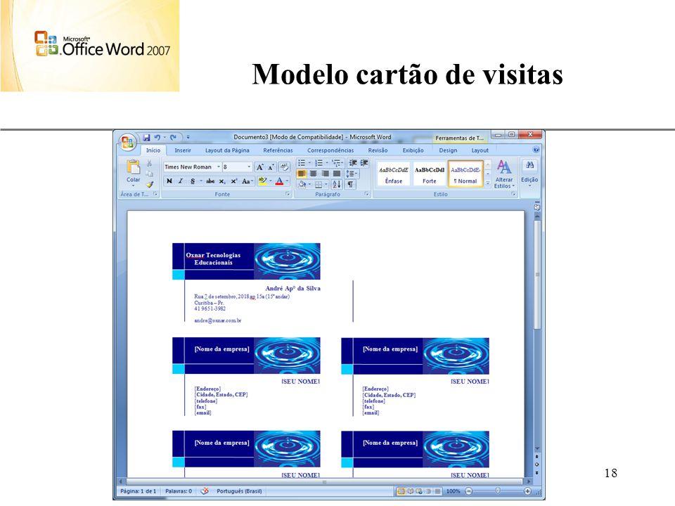Modelo cartão de visitas