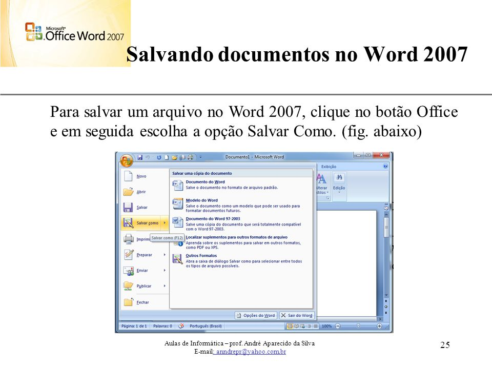 Salvando documentos no Word 2007