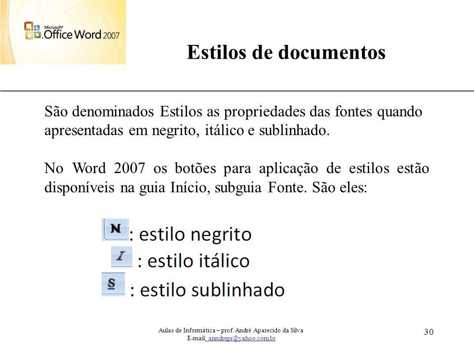 Estilos de documentos São denominados Estilos as propriedades das fontes quando. apresentadas em negrito, itálico e sublinhado.