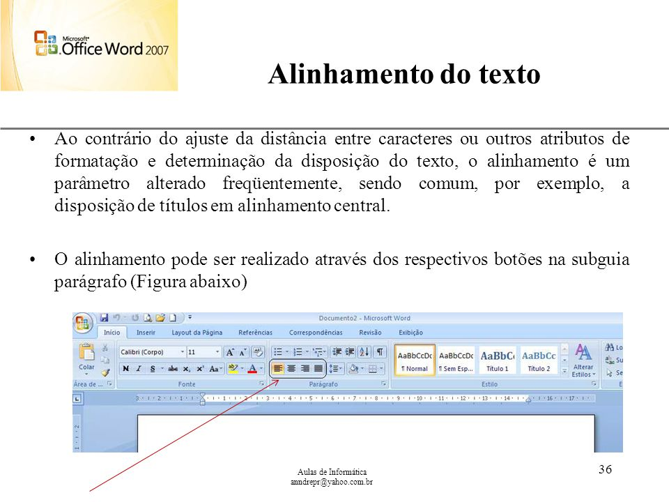 Alinhamento do texto