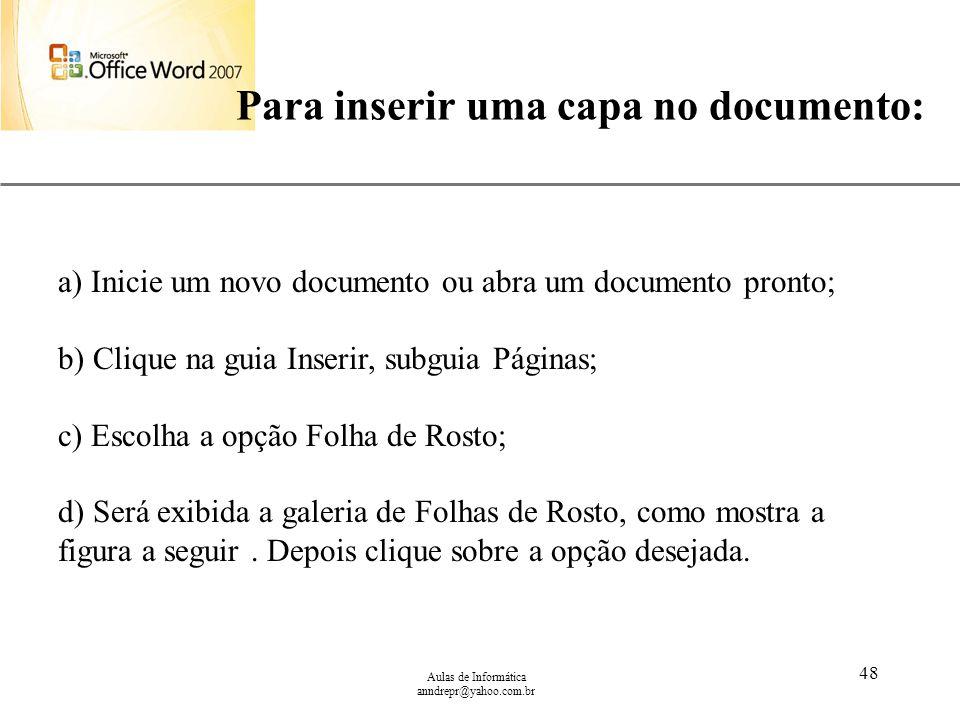 Para inserir uma capa no documento: