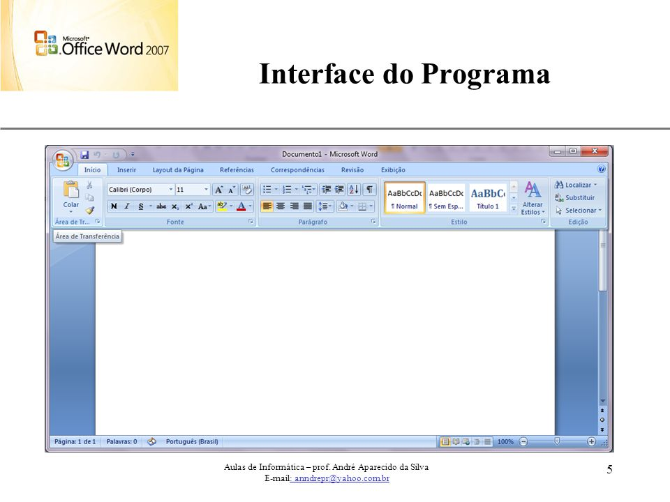 Interface do Programa Aulas de Informática – prof.