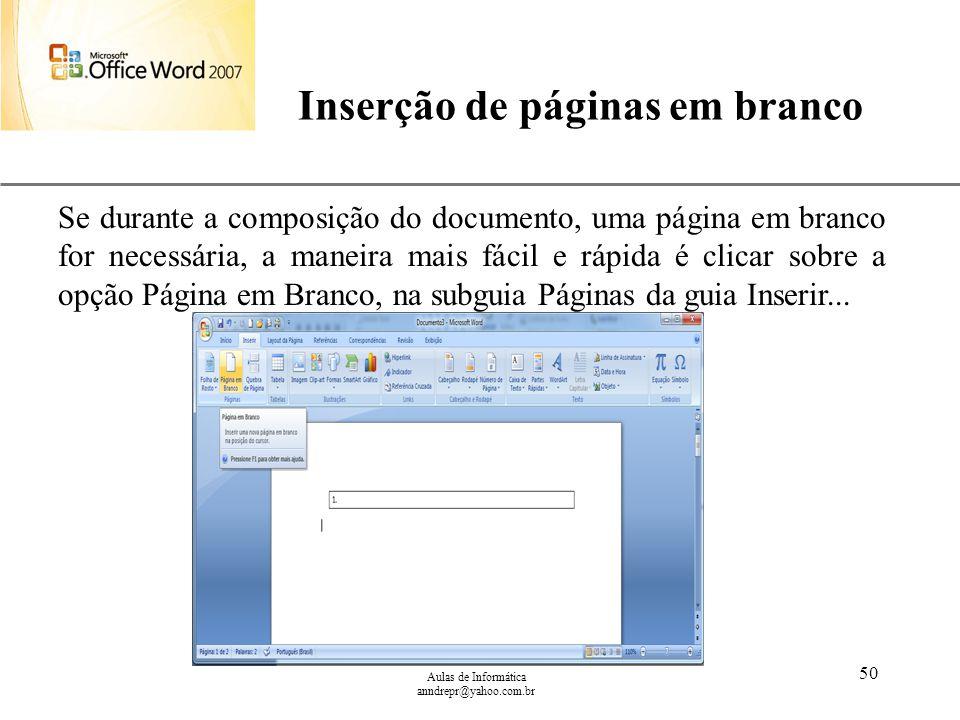 Inserção de páginas em branco