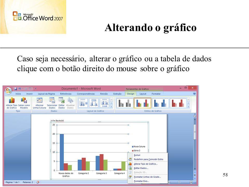 Alterando o gráfico Caso seja necessário, alterar o gráfico ou a tabela de dados clique com o botão direito do mouse sobre o gráfico.