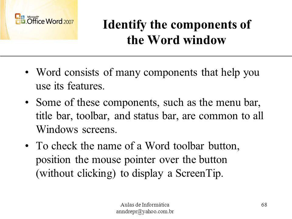 Identify the components of the Word window