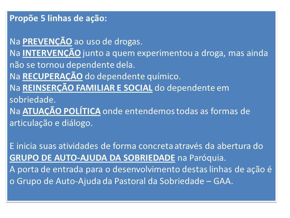 Propõe 5 linhas de ação: Na PREVENÇÃO ao uso de drogas. Na INTERVENÇÃO junto a quem experimentou a droga, mas ainda não se tornou dependente dela.