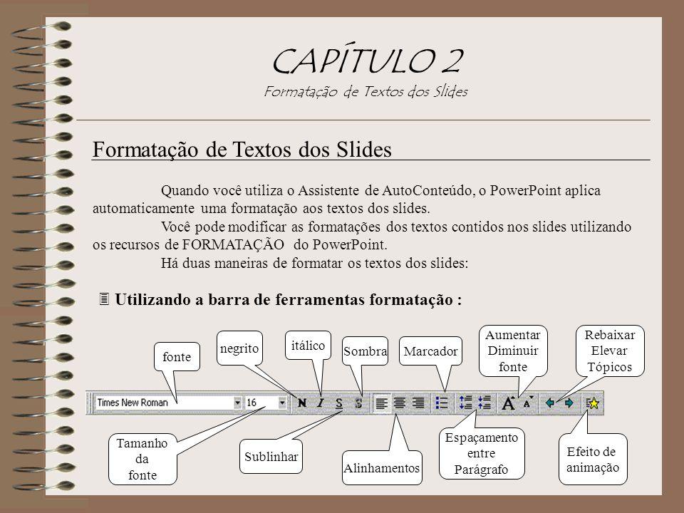 CAPÍTULO 2 Formatação de Textos dos Slides