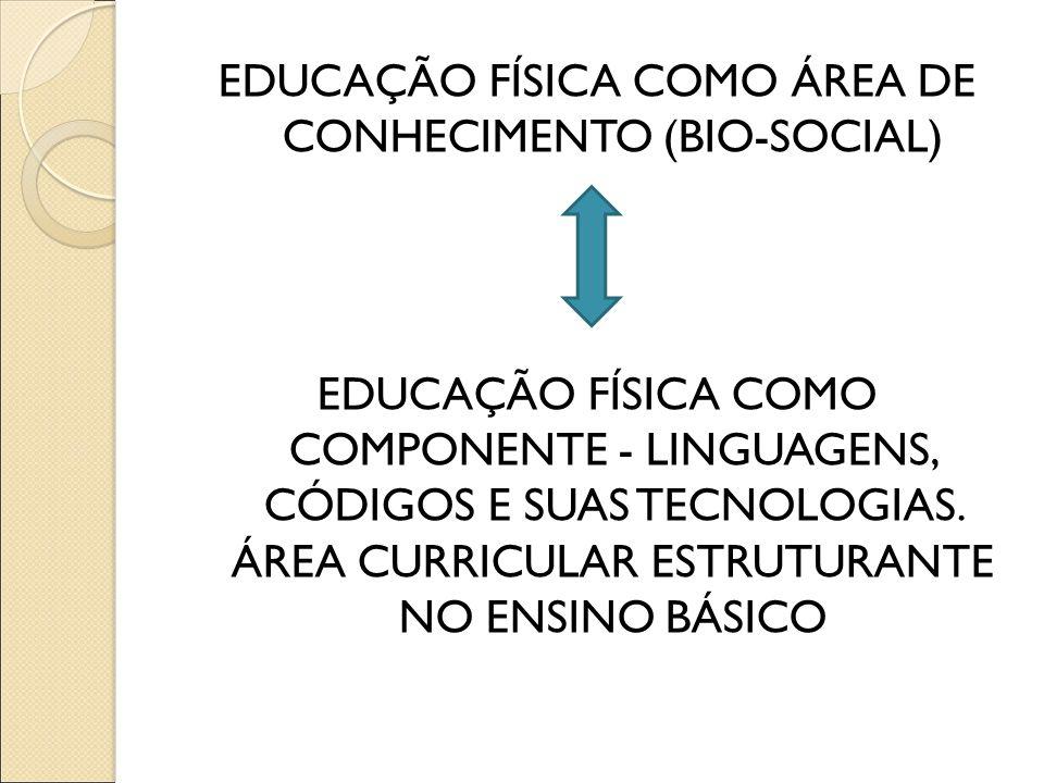 EDUCAÇÃO FÍSICA COMO ÁREA DE CONHECIMENTO (BIO-SOCIAL) EDUCAÇÃO FÍSICA COMO COMPONENTE - LINGUAGENS, CÓDIGOS E SUAS TECNOLOGIAS.
