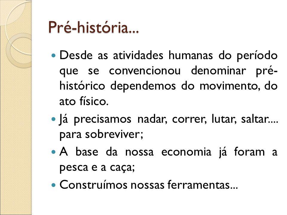 Pré-história... Desde as atividades humanas do período que se convencionou denominar pré- histórico dependemos do movimento, do ato físico.