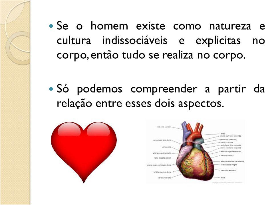 Se o homem existe como natureza e cultura indissociáveis e explicitas no corpo, então tudo se realiza no corpo.