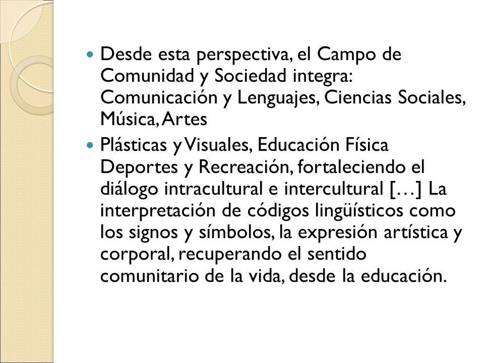 Desde esta perspectiva, el Campo de Comunidad y Sociedad integra: Comunicación y Lenguajes, Ciencias Sociales, Música, Artes