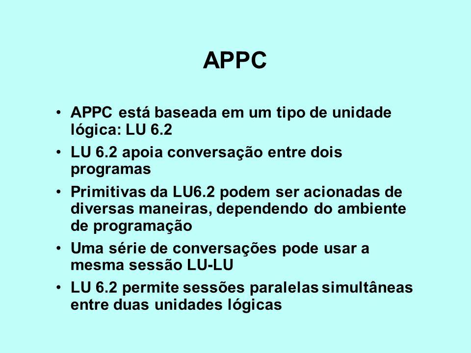 APPC APPC está baseada em um tipo de unidade lógica: LU 6.2