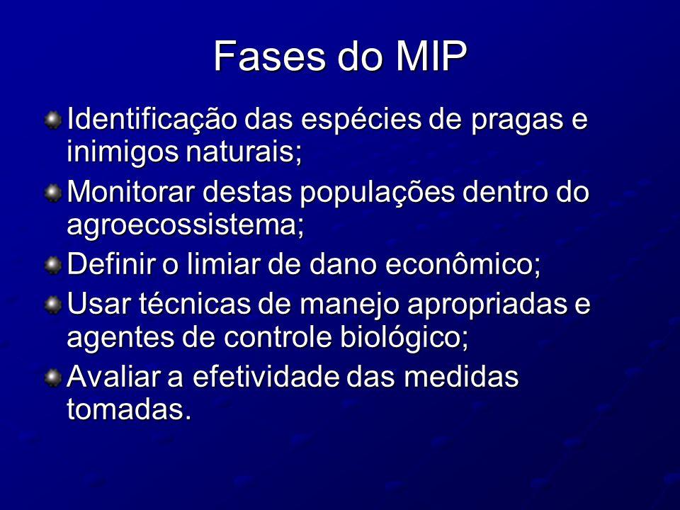 Fases do MIP Identificação das espécies de pragas e inimigos naturais;
