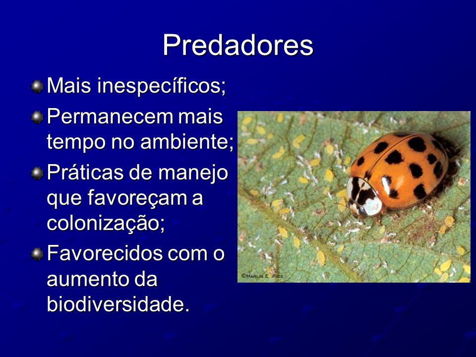 Predadores Mais inespecíficos; Permanecem mais tempo no ambiente;