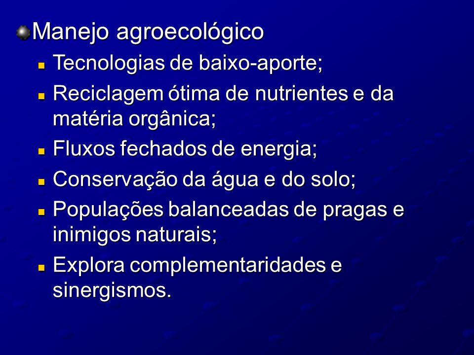 Manejo agroecológico Tecnologias de baixo-aporte;