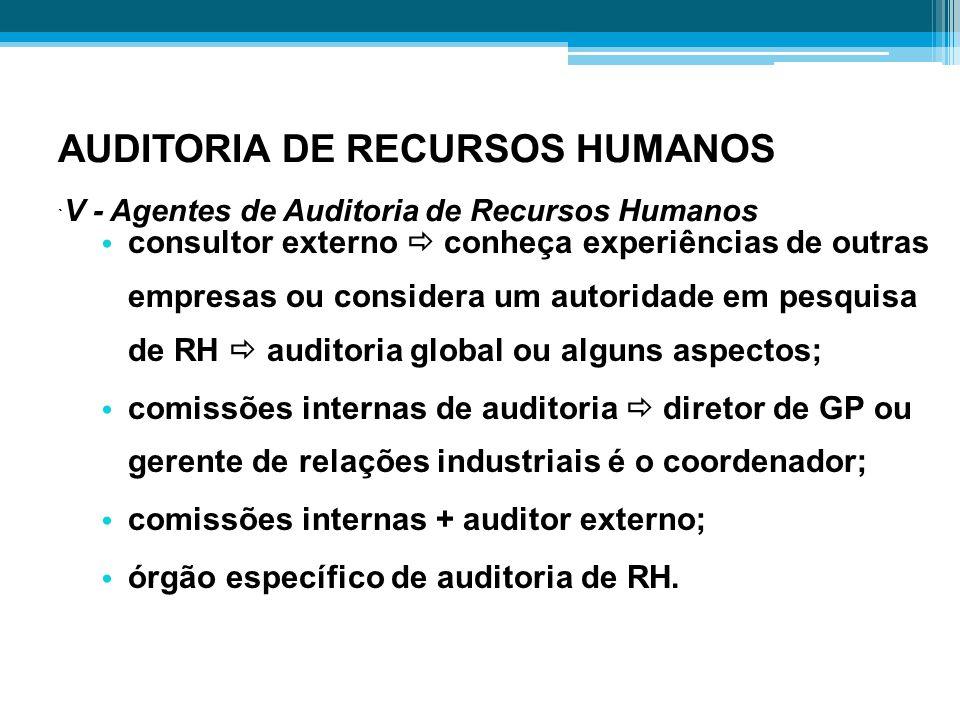 AUDITORIA DE RECURSOS HUMANOS `V - Agentes de Auditoria de Recursos Humanos