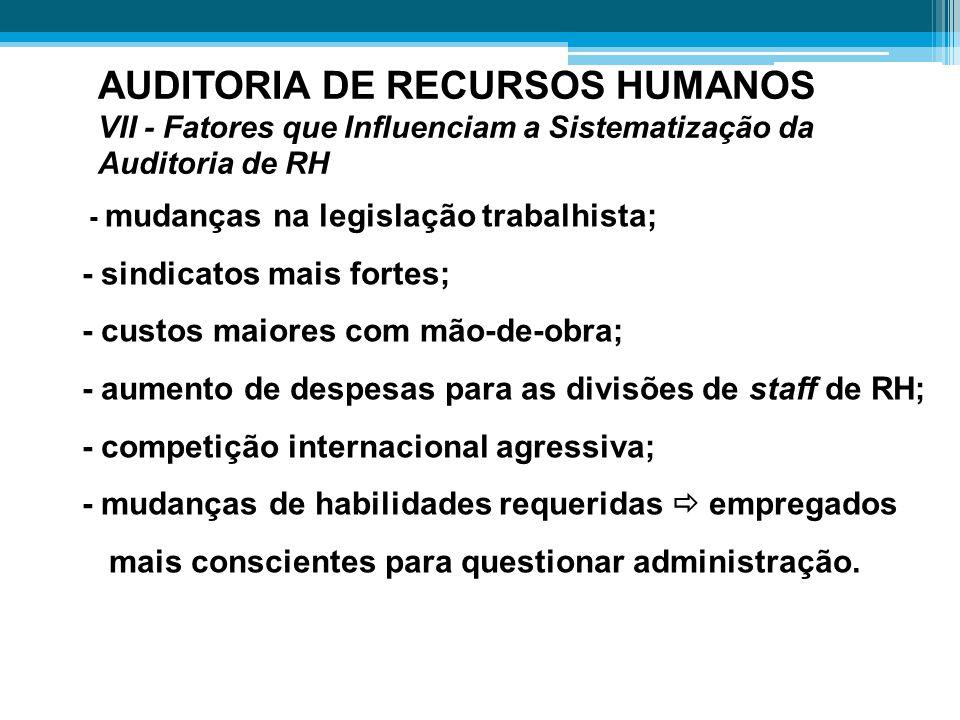 AUDITORIA DE RECURSOS HUMANOS VII - Fatores que Influenciam a Sistematização da Auditoria de RH