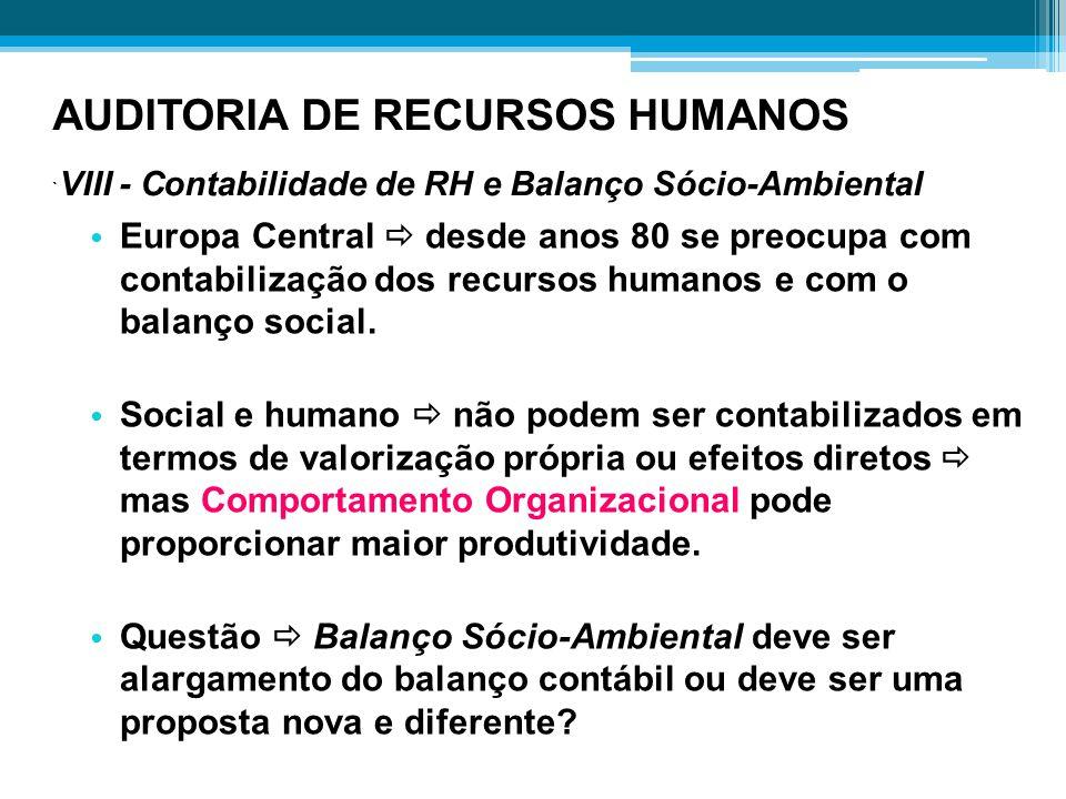 AUDITORIA DE RECURSOS HUMANOS `VIII - Contabilidade de RH e Balanço Sócio-Ambiental