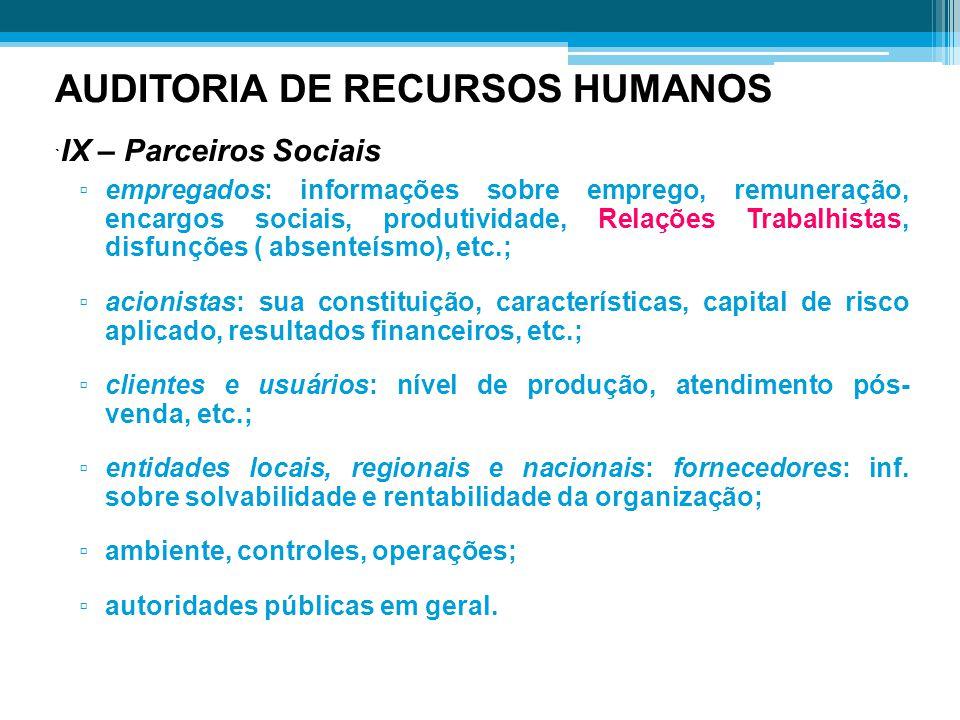 AUDITORIA DE RECURSOS HUMANOS `IX – Parceiros Sociais