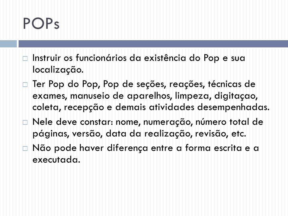 POPs Instruir os funcionários da existência do Pop e sua localização.