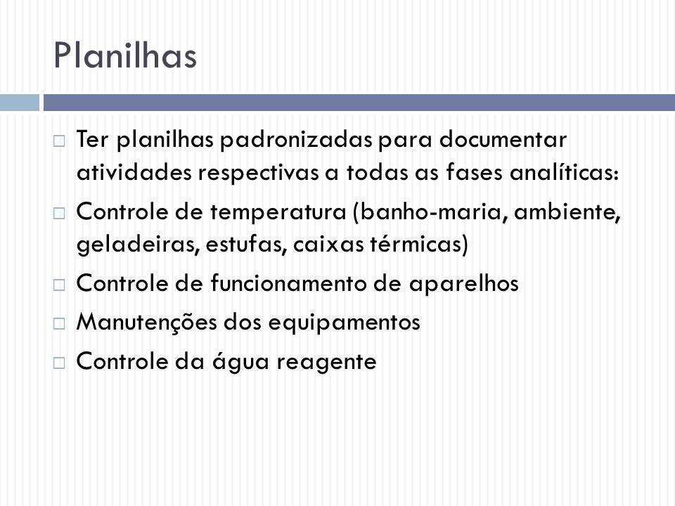 Planilhas Ter planilhas padronizadas para documentar atividades respectivas a todas as fases analíticas: