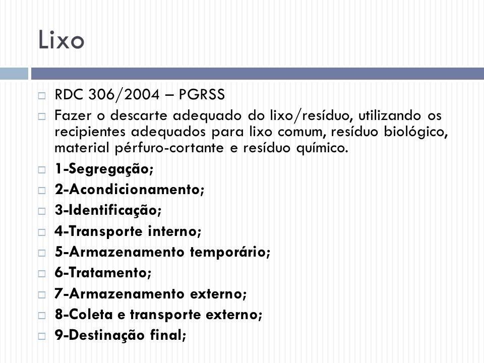 Lixo RDC 306/2004 – PGRSS.
