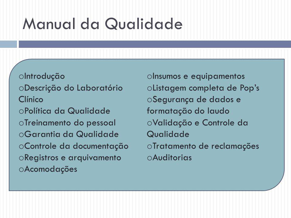 Manual da Qualidade Introdução Insumos e equipamentos