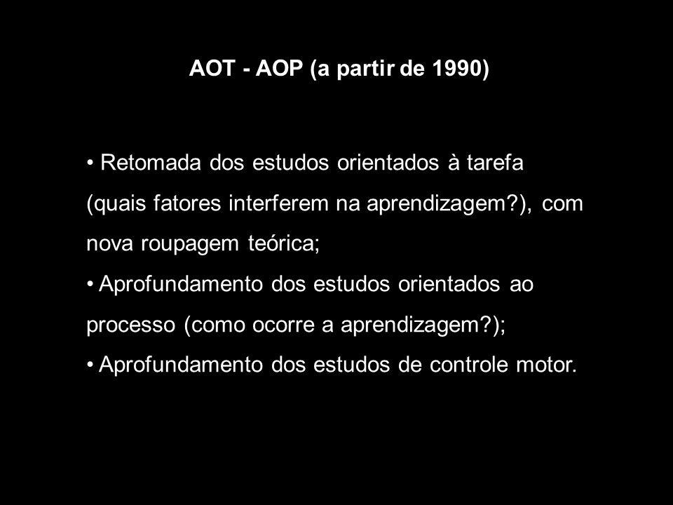 AOT - AOP (a partir de 1990) Retomada dos estudos orientados à tarefa (quais fatores interferem na aprendizagem ), com nova roupagem teórica;