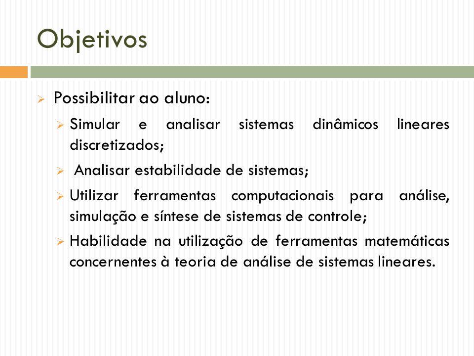 Objetivos Possibilitar ao aluno: