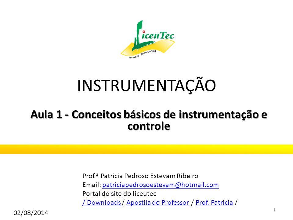 Aula 1 - Conceitos básicos de instrumentação e controle