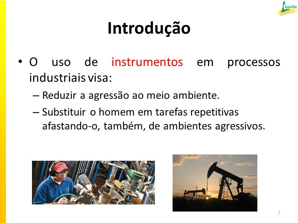Introdução O uso de instrumentos em processos industriais visa: