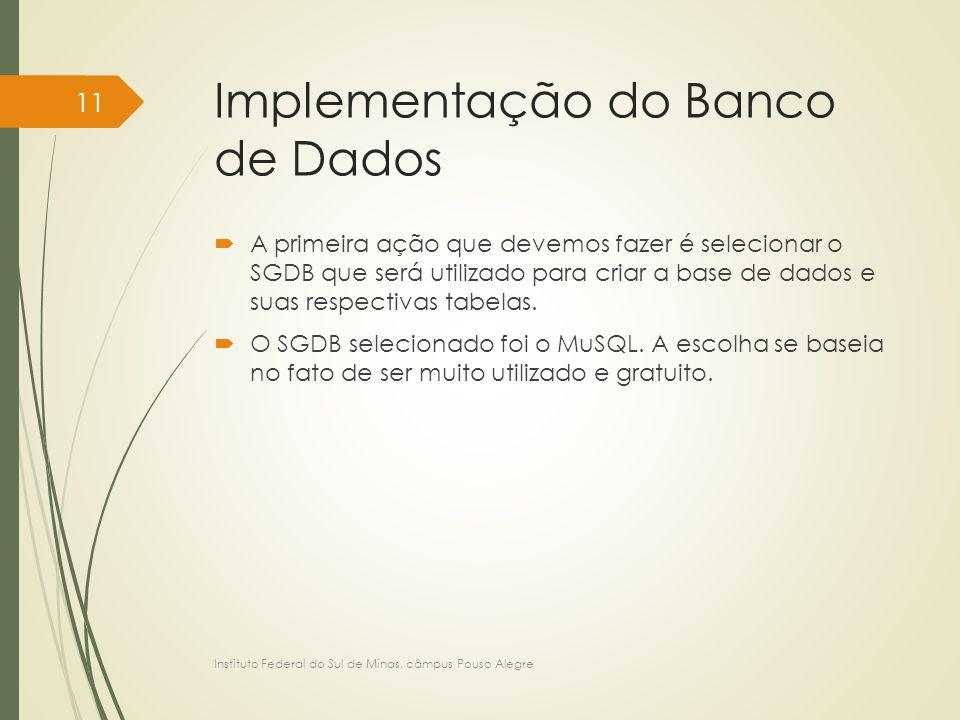 Implementação do Banco de Dados