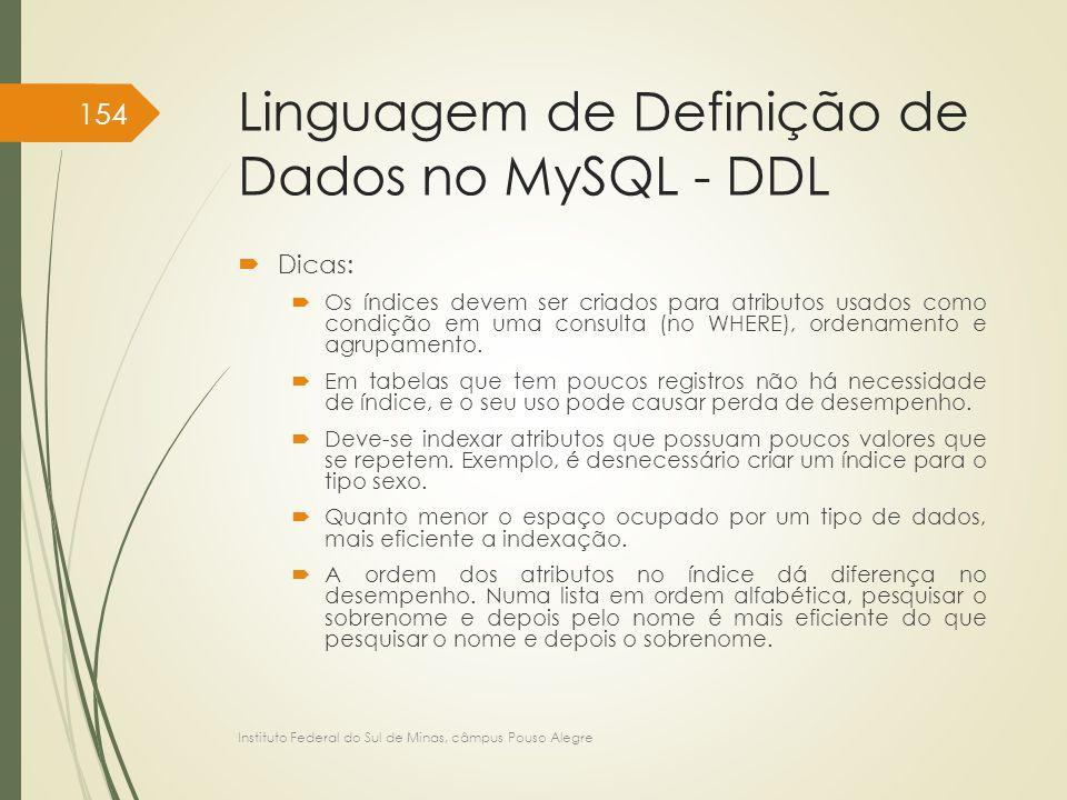 Linguagem de Definição de Dados no MySQL - DDL