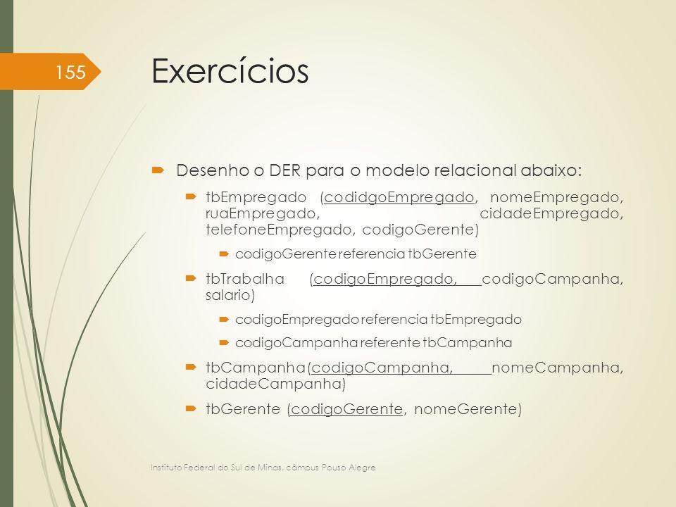 Exercícios Desenho o DER para o modelo relacional abaixo: