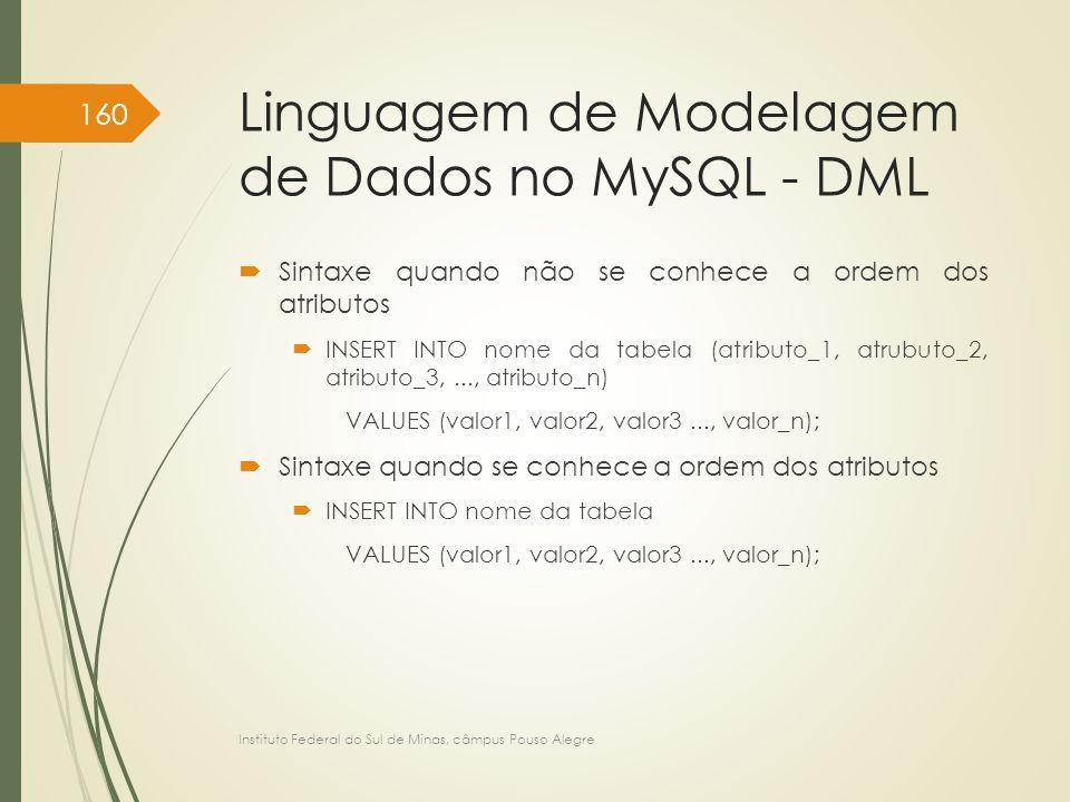 Linguagem de Modelagem de Dados no MySQL - DML