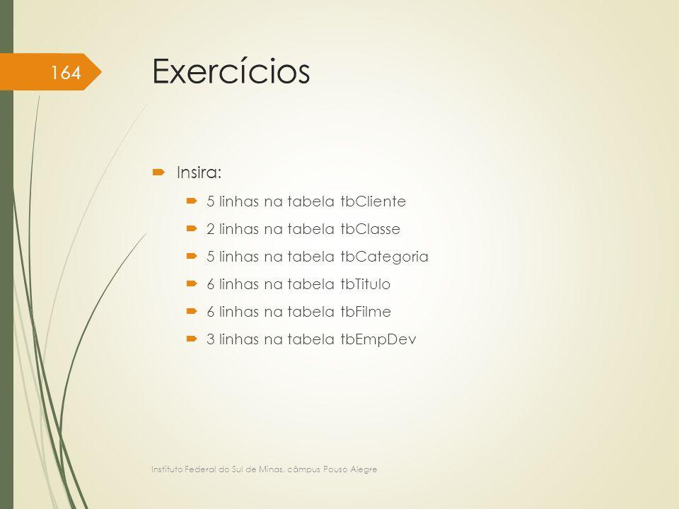 Exercícios Insira: 5 linhas na tabela tbCliente