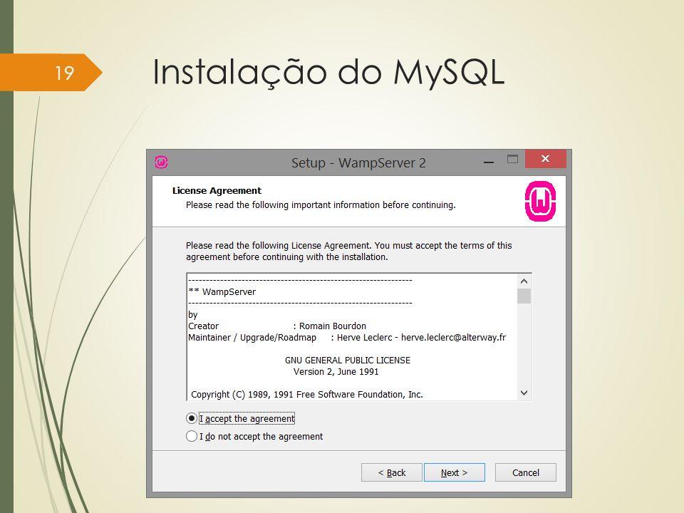 Instalação do MySQL Instituto Federal do Sul de Minas, câmpus Pouso Alegre